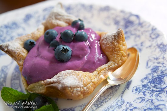 Blueberry Soy Yogurt in Puff Pastry Cups