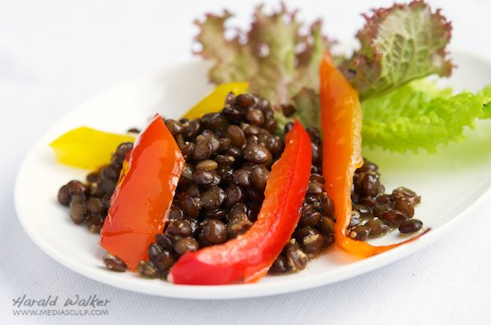 Rosemary Marinated Puy Lentil and Sweet Pepper Salad