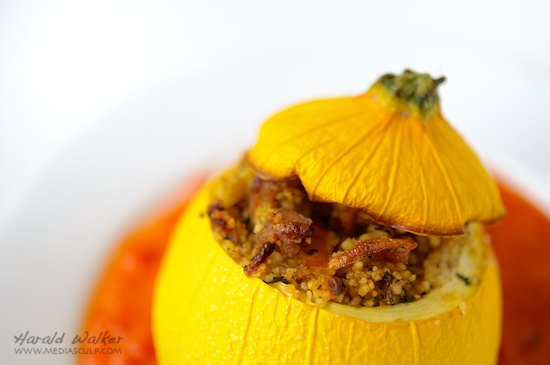 Stuffed Round Yellow Zucchini with Red Bell Pepper Sauce