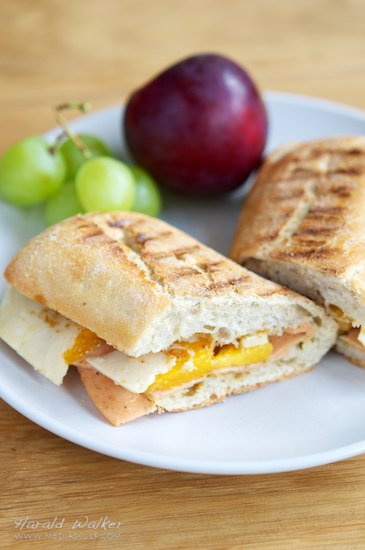 Vegan Deli Slices, Peach and Soy Cheese Ciabatta