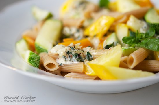 Yellow and Green Zucchini on Penne with Herbed Soy Cream Sauce