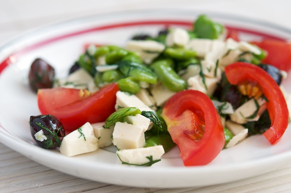 Fava Bean Salad with Black Olives, Tomatoes and Soy Cheese