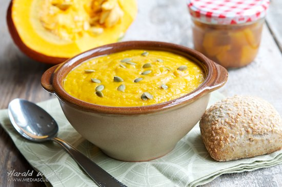 Orange Pumpkin Carrot Soup with Ginger and White Wine