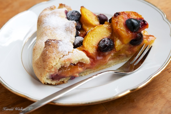 Rustic Peach and Blueberry Galette with Almond Crust