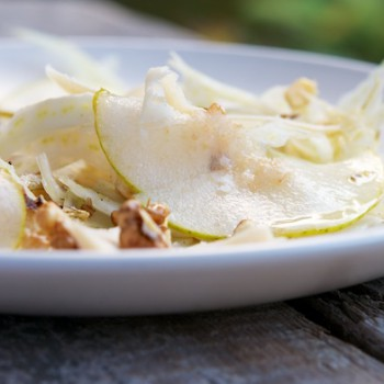 Fennel, Pear and Walnut Salad with Soy Cheese