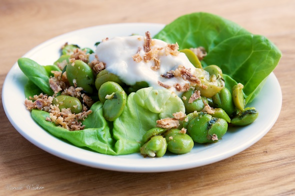 Minty Fava Bean Salad with Crunchy Fried Onions