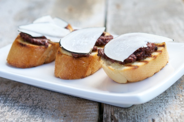 Radish Canapes with Black-Olive Tapenade