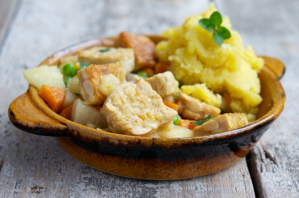 Tempeh Stew with Garlic Mashed Potatoes