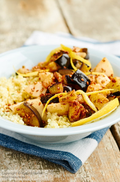 Spicy Eggplant and Pears on Couscous