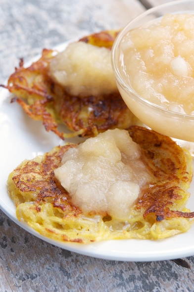German Potato Pancakes with Apple Sauce