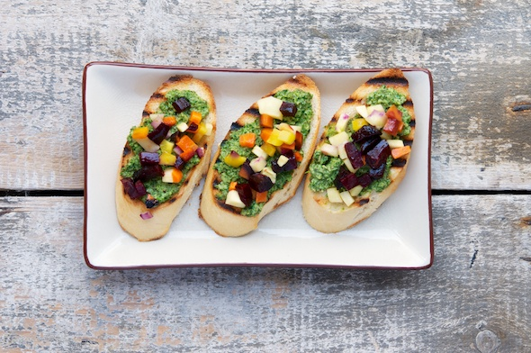 Roasted Fall Veggie Bruschetta with Kale, Sage and Chive Pesto
