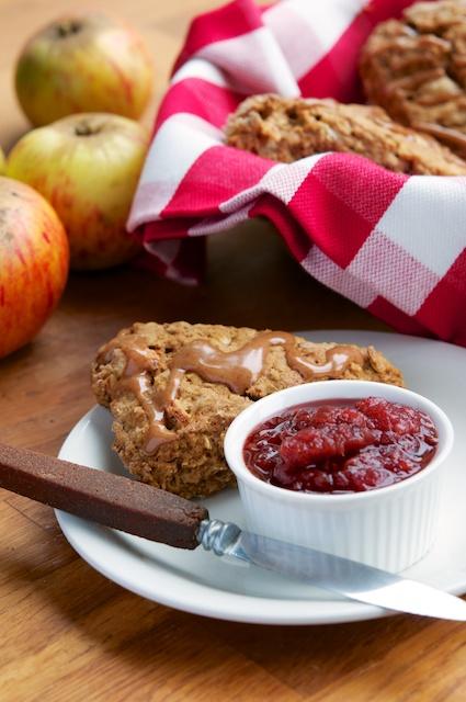 Vegan Apple Oat Scones with Cinnamon Glaze