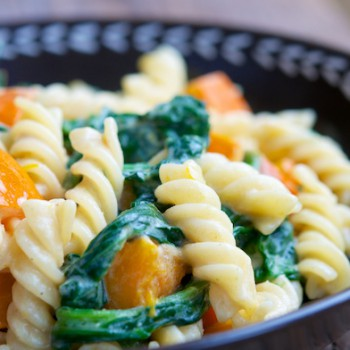 Vegan Pasta with Squash and Spinach