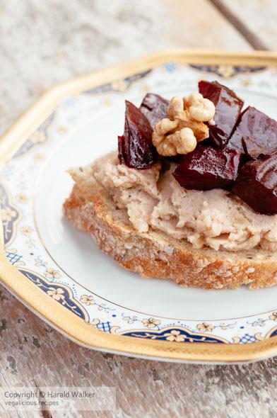 Roasted Beets with Walnut Garlic–Potato Spread