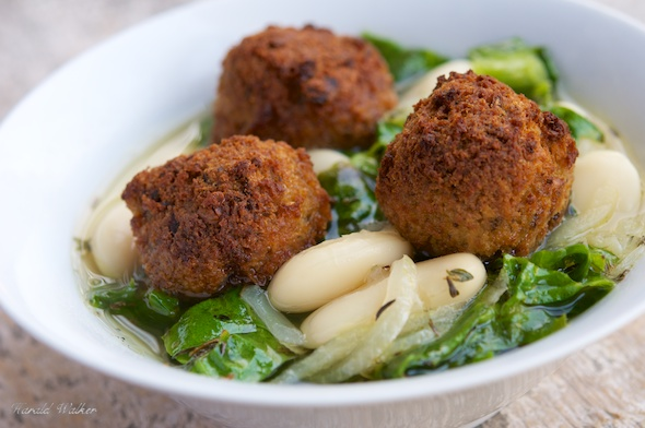 Escarole Soup with Great Northern Beans and Falafel Balls