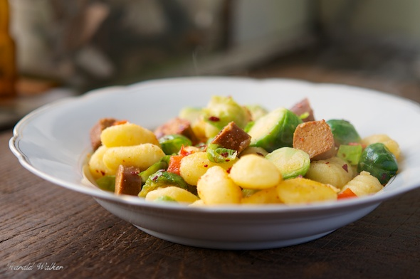 Gnocchi with Brussels Sprouts and Vegan Hot Dog Pieces