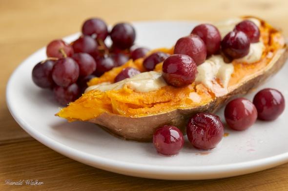 Roasted Grape Filled Sweet Potatoes