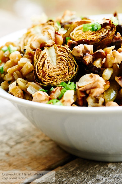 Lemony wheat berries served with roasted Brussels sprouts, shallots and walnuts.