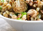 Lemony wheat berries with roasted Brussels sprouts