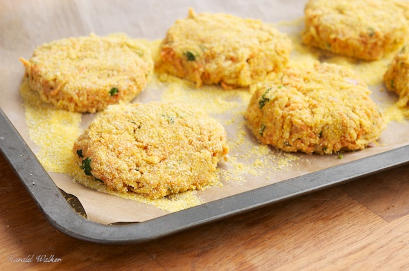 Carrot and Swede Fritters with Coriander and Lime Chutney