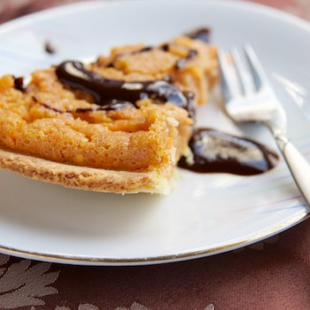 Sweet Carrot Pie with Chocolate Sauce