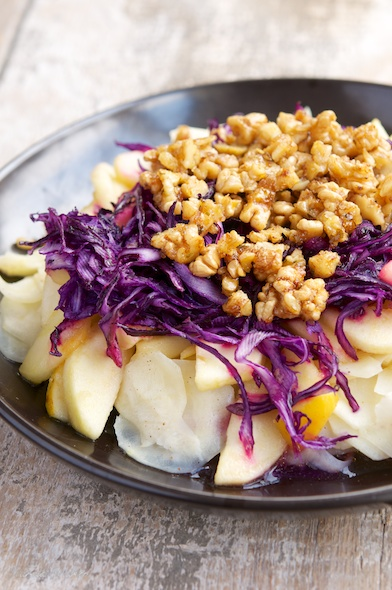 Vegan Parsnips, Apples, Red Cabbage and Candied Walnuts