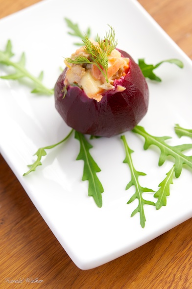 Beets Filled with Carrot, Apple and Walnut Salad