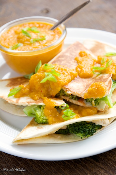 Broccoli Quesadillas with Apricot-Carrot Sauce