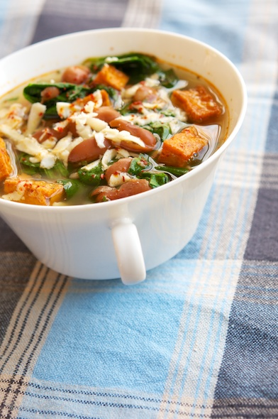Spinach, Bean And Spicy Tofu Soup
