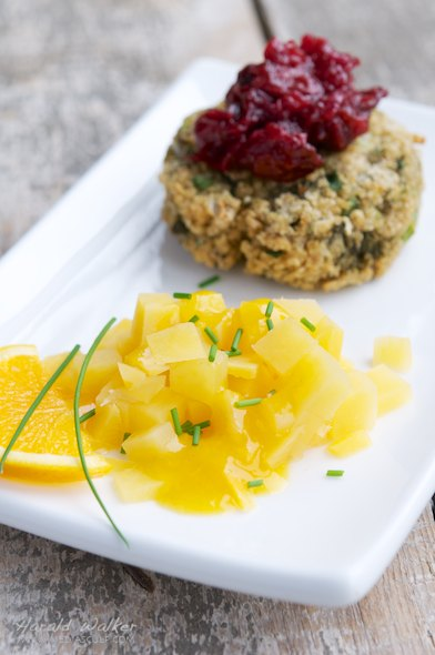 Steamed rutabaga with orange ginger sauce and patties