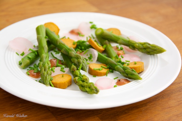 Asparagus Appetizer with Vegan Sausage, and Radishes