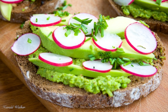 Green Pea Spread Toast with Avocado and Radishes