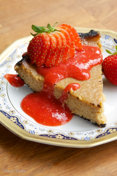 Vegan Cheesecake with Chocolate Bottom and Strawberry Coulis