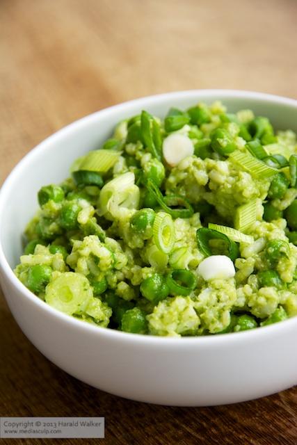 Pea and Rice Salad with Spinach Cilantro Pesto