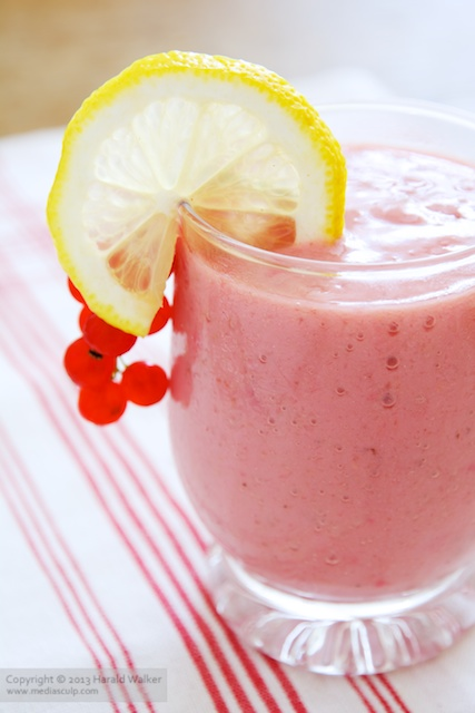 Redcurrant and Banana Smoothie - Click here to license this image exclusively from Stocksy