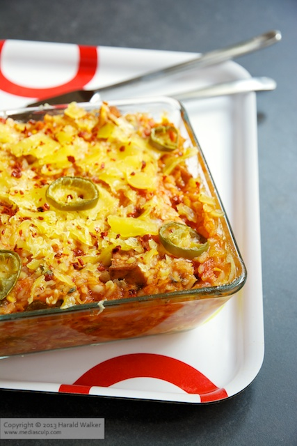 Tex-Mex Zucchini and Rice Casserole - Click here to license this image from Stocksy