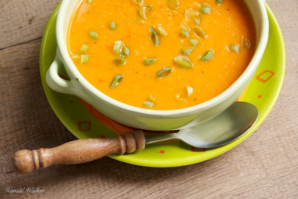 Turnip and Red Bell Pepper Soup - Click here to license this image from Stocksy