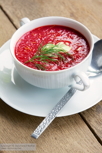 Beet and Pear Soup with Lemon Avocado Cream - Click here to license this image