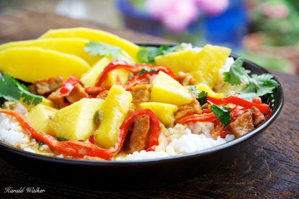 Mango and Spicy Tofu in Coconut Curry Sauce - Click here to license this image directly from us!