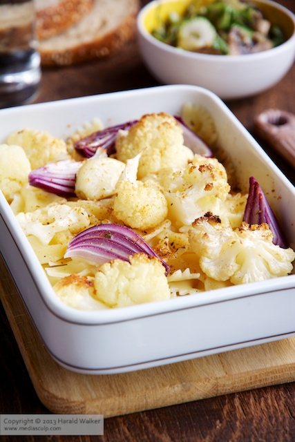 Farfalle with Roasted Cauliflower, Red Onions and Garlic - Click here to license this image from Stocksy