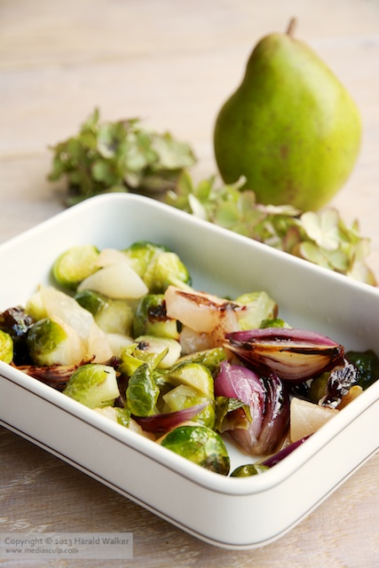 Roasted Brussels Sprouts with Pears and Red Onions - Click here to license this image