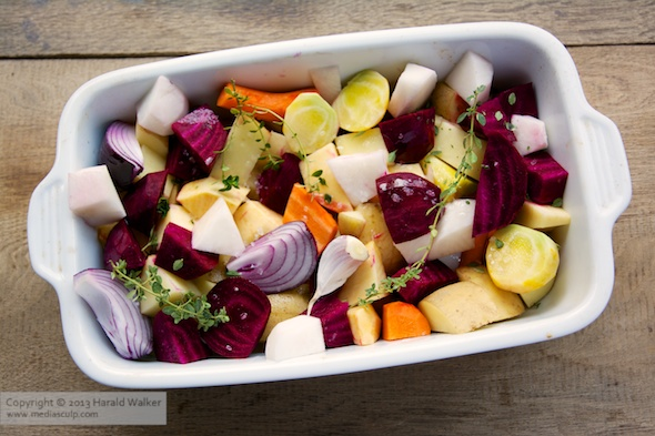 Baking dish with fall vegetables