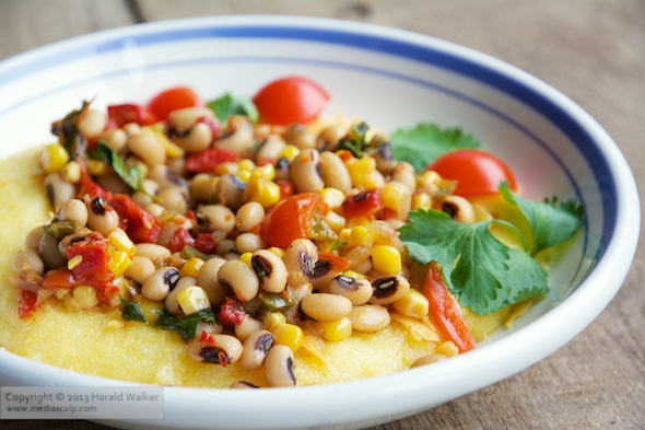 Black-Eyed Pea Stew on Polenta