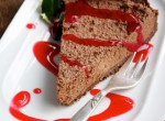 Chocolate Cheesecake with Cranberry Coulis