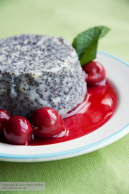 Poppy Seed Panna Cotta with Cherry Sauce