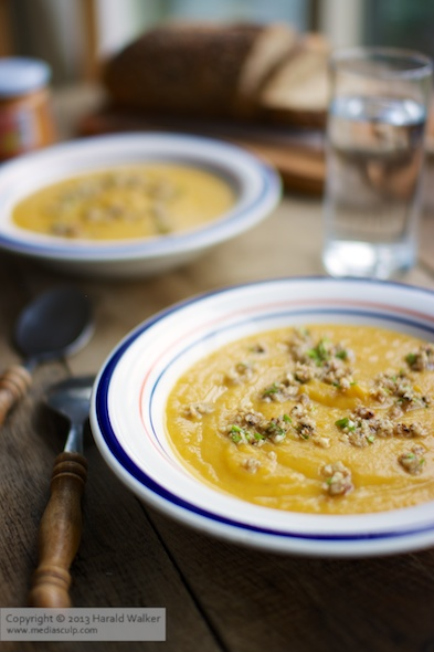 Rutabaga Sweet Potato Soup with Toasted Garlicky Ground Walnuts