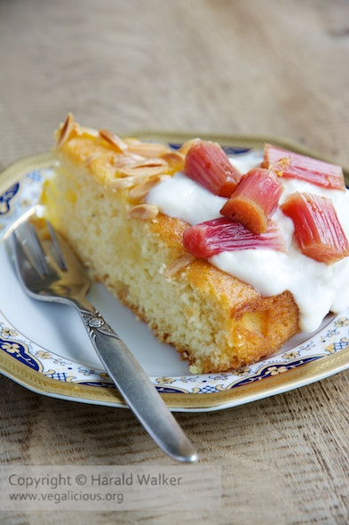 Vegan Orange, Almond Semolina Cake with Baked Rhubarb