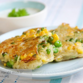 Corn, pea and potato patties with herbed soy yogurt sauce