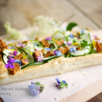 Springtime Zucchini Tart with Edible Flower Garnish