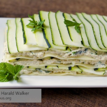 Zucchini lasagna salad with a home made vegan cream cheese